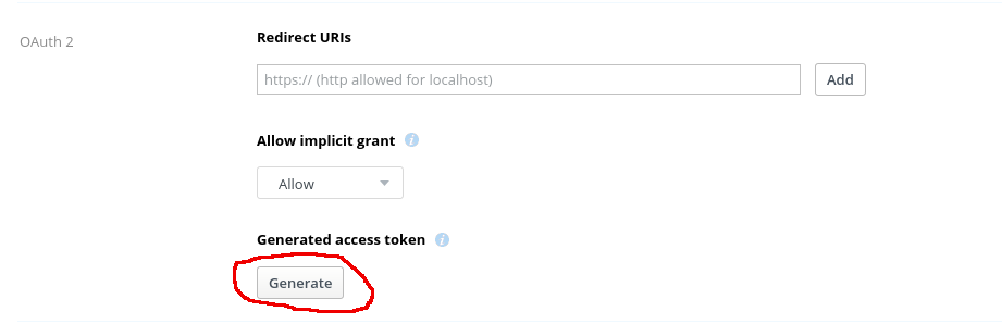 Dropbox Generated access token